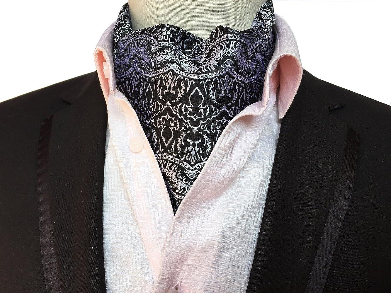 Elfeves Mens Blue Orange Floral 100/% Silk Cravat Ties Jacquard Woven Ascot