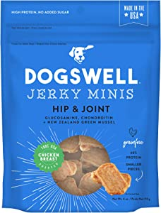 Dogswell Jerky Dog Treats, Made in USA Only with Glucosamine, Chondroitin & New Zealand Green Mussel for Happy Hips