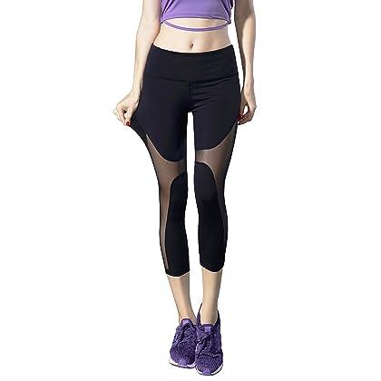 0653bfe356 Heat Move Women's Mid Waist Workout Yoga Capri Pants Crisscross Strappy  Mesh Yoga Leggings with Hidden Pocket (XS-XL) (Large, Black-Mesh)