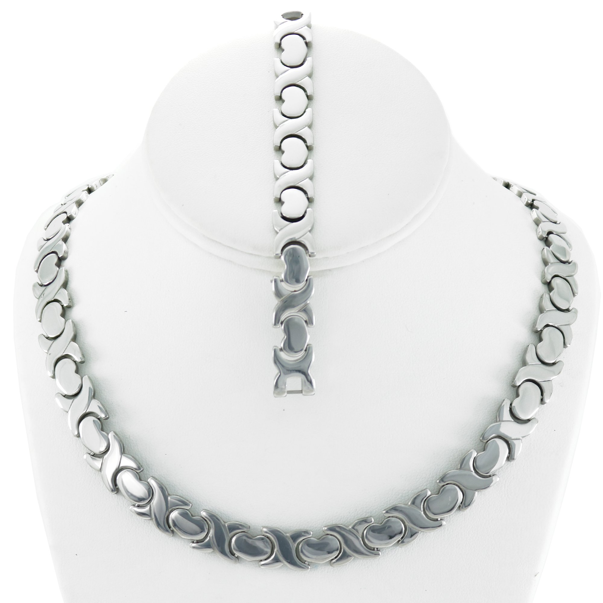 NEW 11mm Width Womens Silver Tone XOXO Stampato Necklace and Bracelet Set 18/20'' LENGTH (Necklace Length 20'')