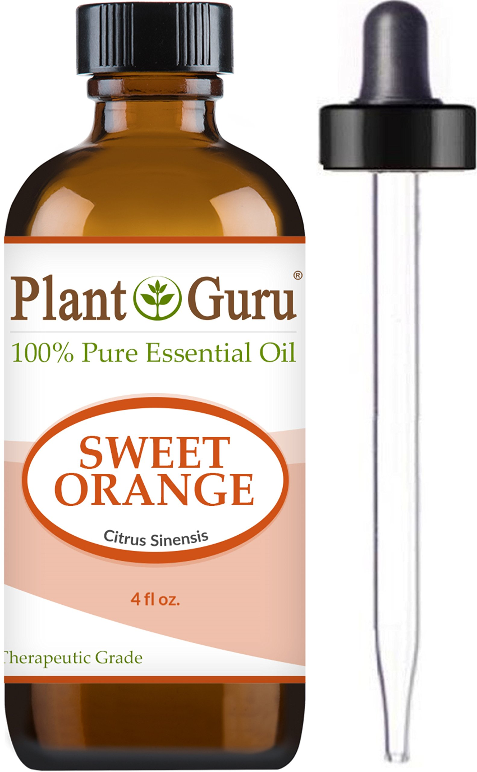 Sweet Orange Essential Oil 4 oz. 100% Pure Undiluted Therapeutic Grade Citrus Sinensis , Cold Pressed From Fresh Orange Peel, Great for Aromatherapy Diffuser, Relaxation and Calming, Natural Cleaner.
