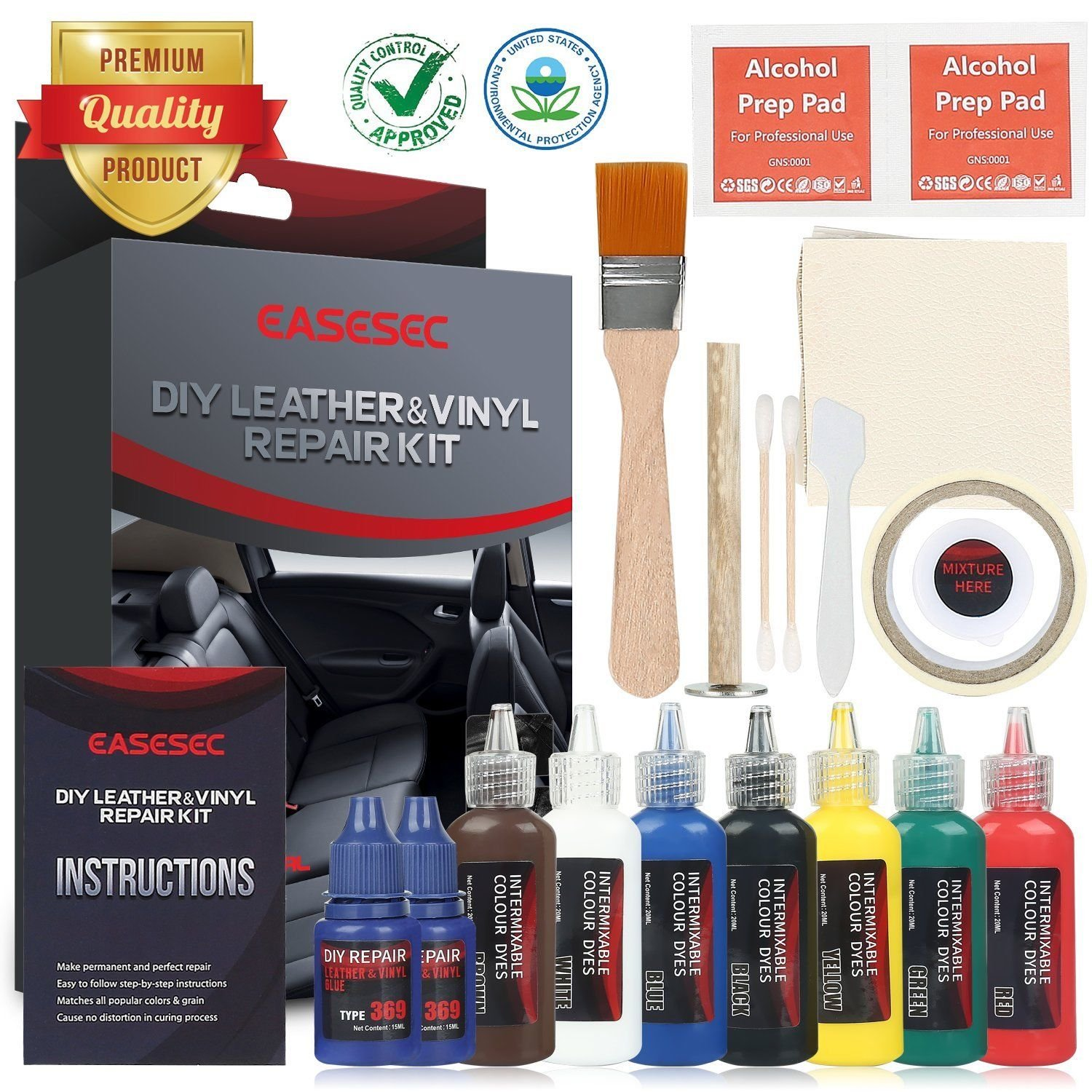 PAPE, Leather And Vinyl Repair Restoration Kit For Couch Car Seats Handbags Jacket SET