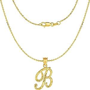 10k Yellow Gold Letter B Pendant Cursive Alphabet Charm Fashion