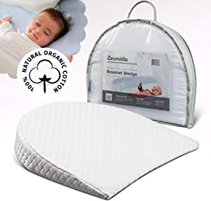 Zermätte Bassinet Wedge Pillow for Reflux Baby Sleep- for Infant and Newborn Colic & Congestion - Premium Organic Cotton Cover with Anti-Skid Bottom - Waterproof Inner Cover - Storage Bag (15