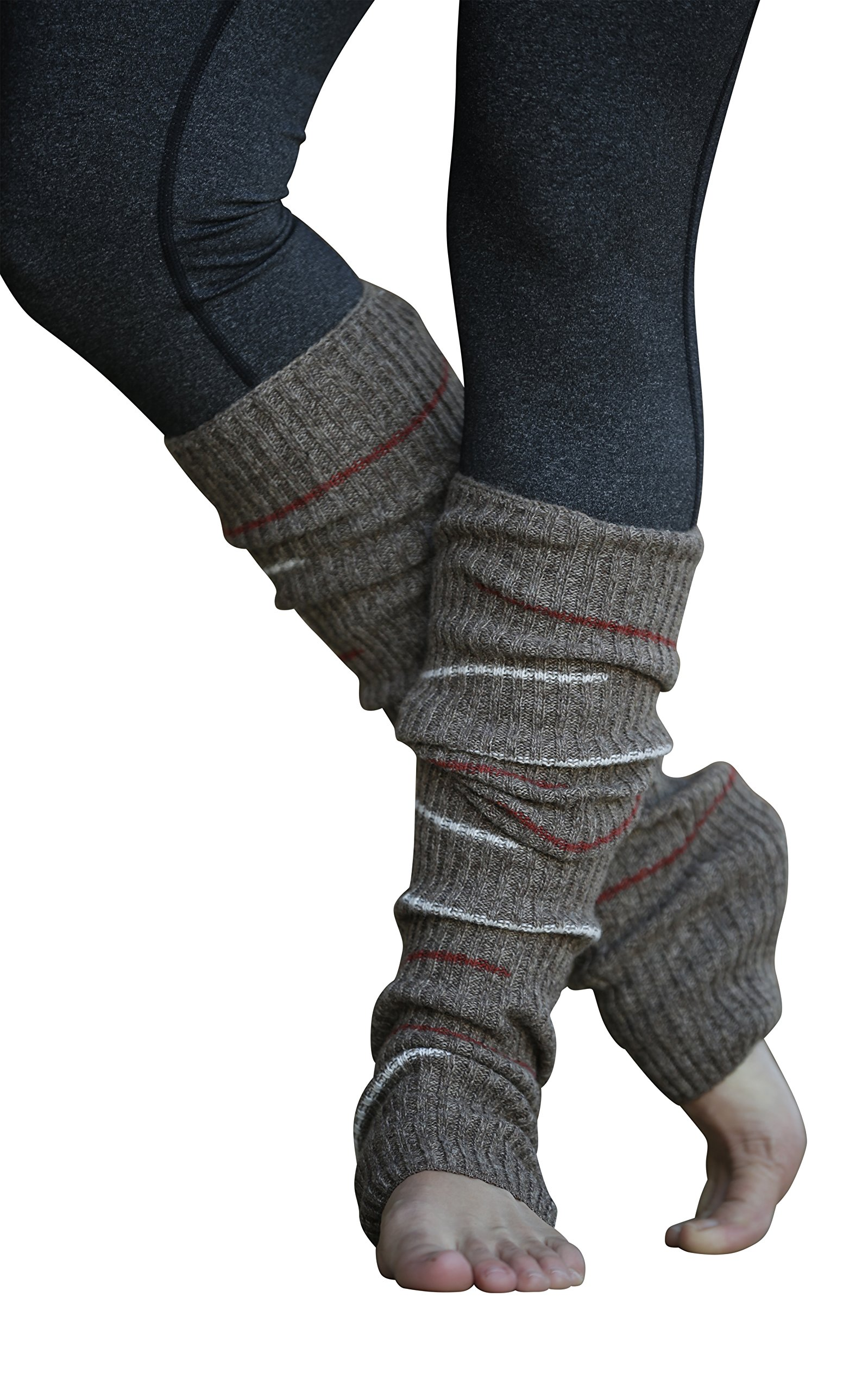 Lucky Love (TM) Striped Multicolor Reversible Knit Leg Warmers (Brown Small Stripe)