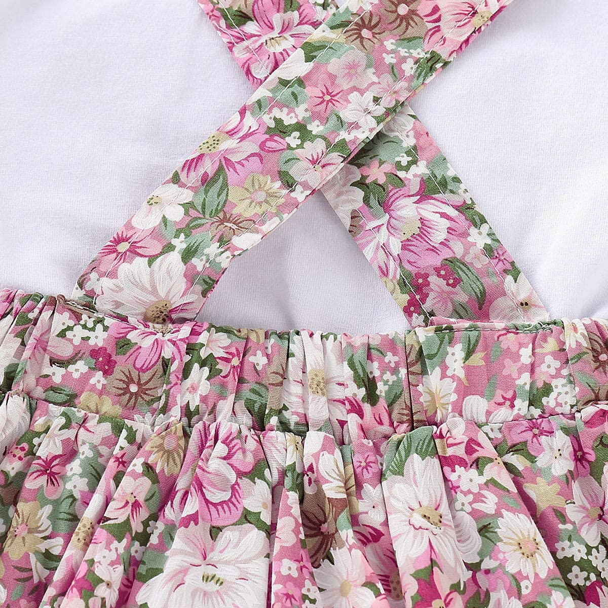 Kid Baby Girls Ruffle Sleeve Solid Top+Floral Button Suspender Skirt Outfits Set