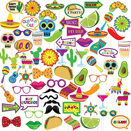 72d8b4986706 Amazon.com  Fiesta Photo Booth Props – 72-Pack Mexican Photo Booth ...