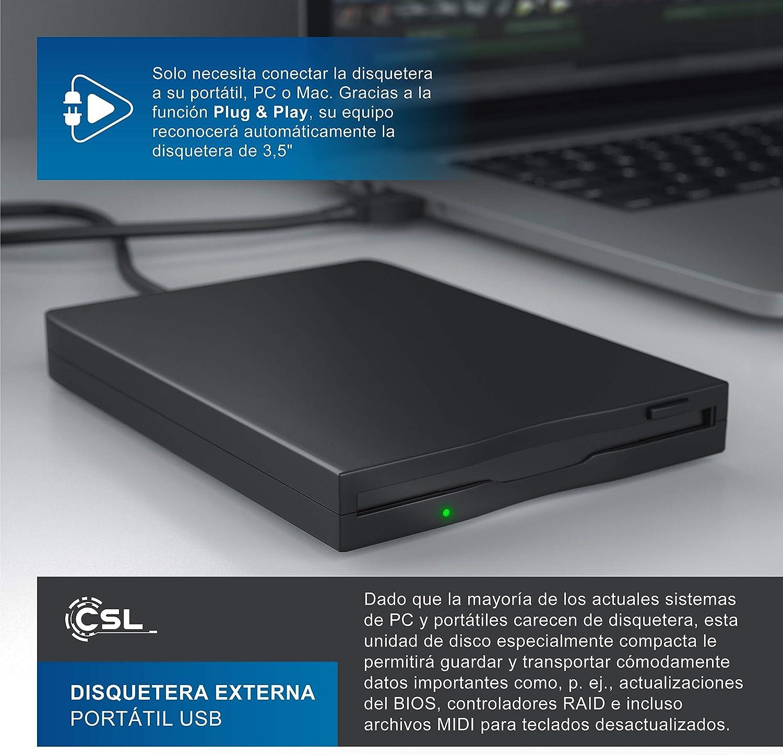 CSL - Disquetera Externa - Lector USB de Disquetes Floppy Disk Drive FDD: Amazon.es: Electrónica