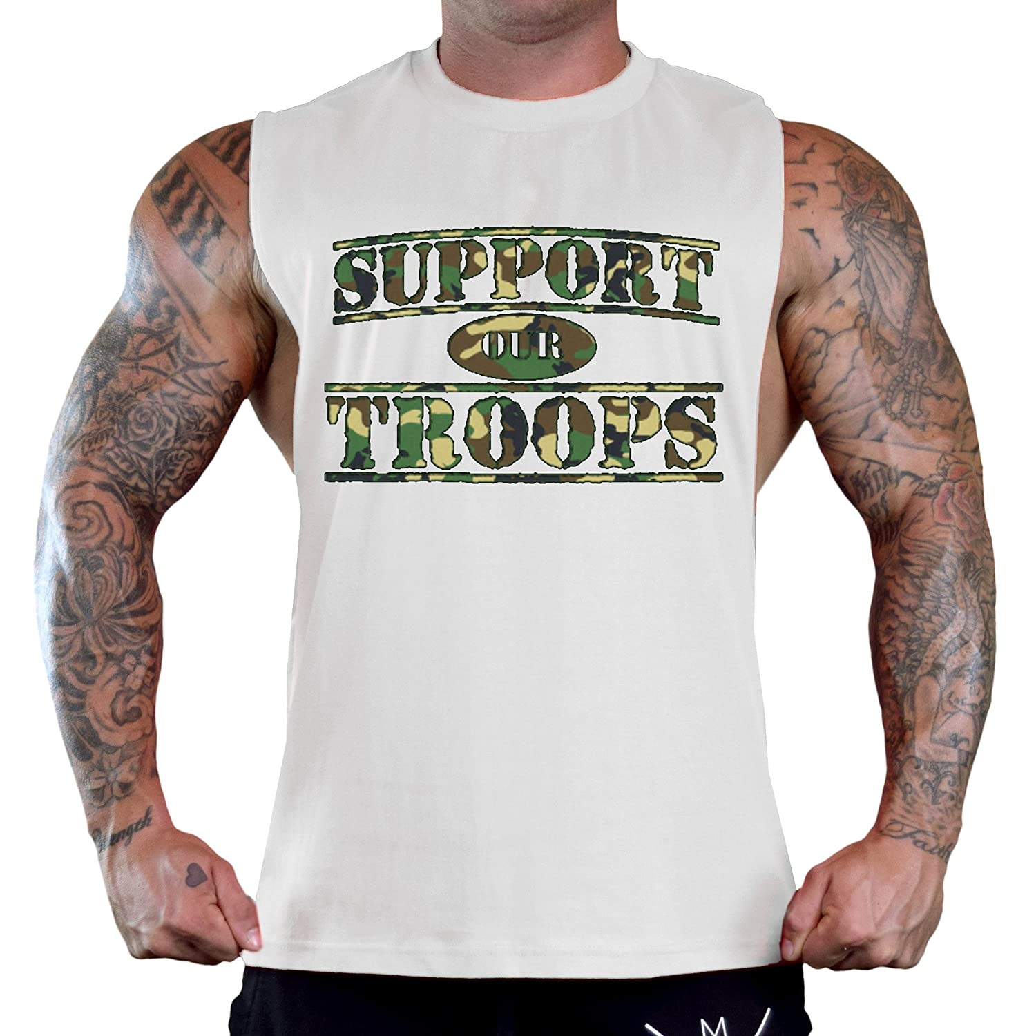 Mens Camo Support Our Troops Sleeveless White T-Shirt Gym Tank Top