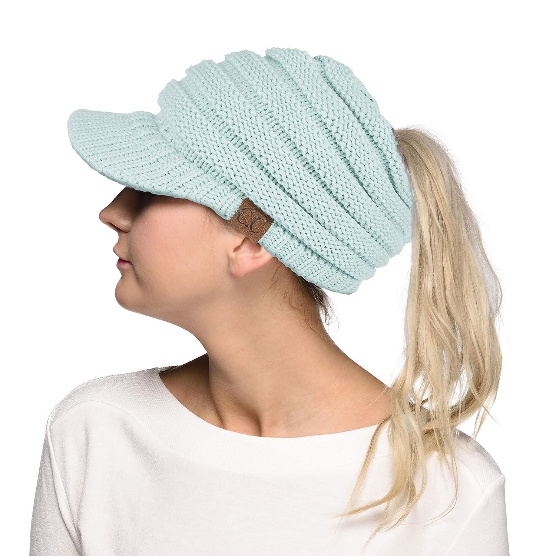 C.C Messy Bun Ponytail Visor Brim Beanie Hat (MB131) (Mint)