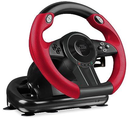 Speedlink TRAILBLAZER Racing Wheel - Multiplattform Lenkrad für Xbox One, Playstation 3 + 4, PC (Minimale Schaltzeiten - Stat