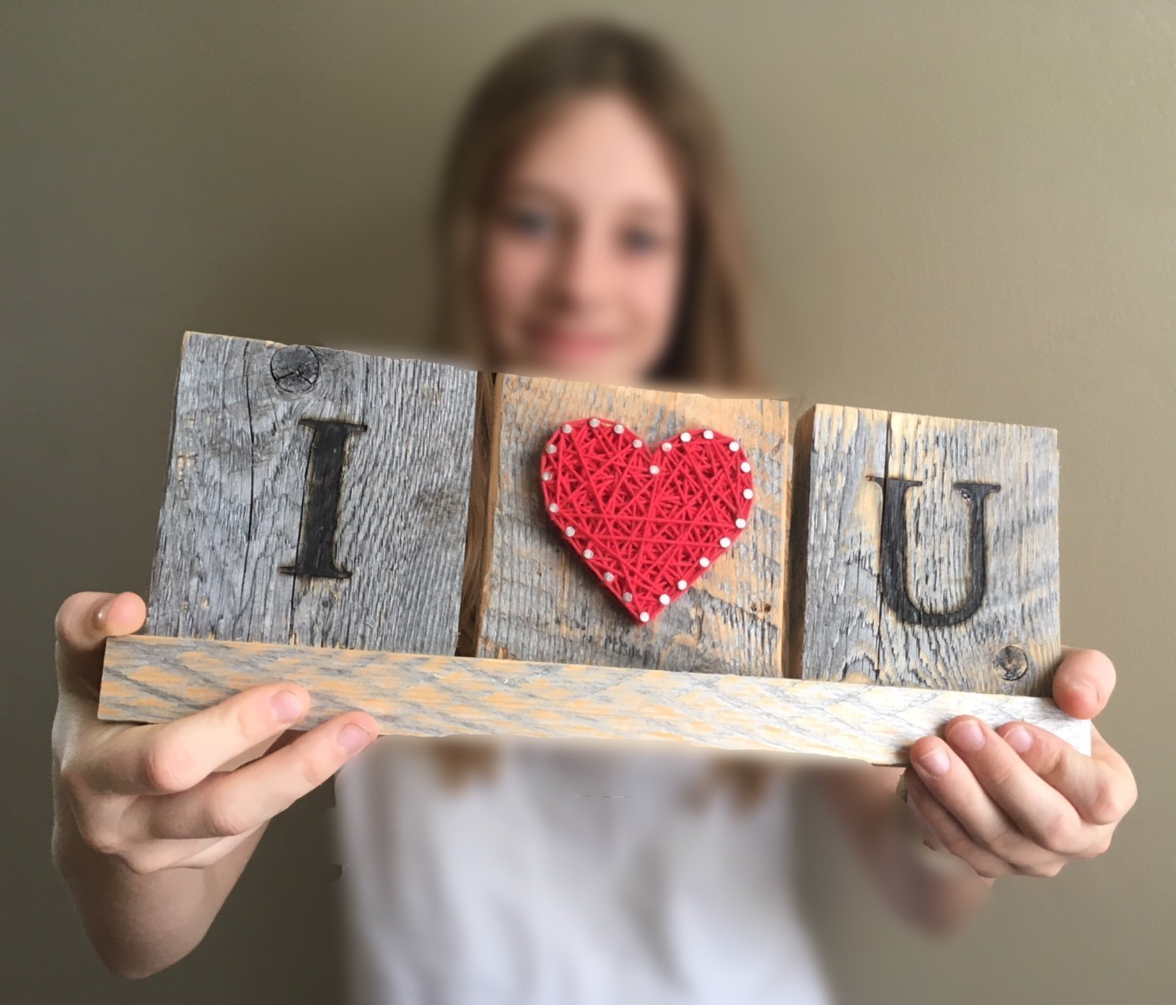 I Love you wooden desk gift. String art love sign. Great gift for Anniversary, birthday, graduation and just because gift by Nail it Art.
