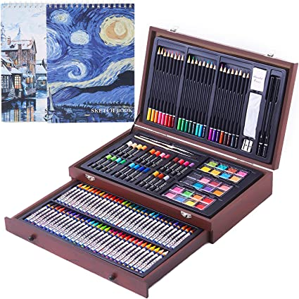 145 Piece Deluxe Art Creativity Set with 2 x 50 Page Drawing Pad