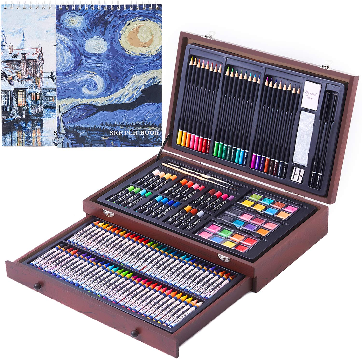 145 Piece Deluxe Art Creativity Set, Art Supplies in Portable Wooden Case- Crayons, Oil Pastels, Colored Pencils, Watercolor Cakes, Sharpener, Sandpaper & 2 x 50 Page Drawing Pad! - Deluxe Art Set by COOL BANK