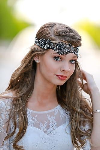 Amazon.com  Black White Boho Headband - Forehead Headband - Bohemian Gypsy  Headbands - Flower Headband - Lace Sheer Head Wrap  Handmade 6dc91400d97