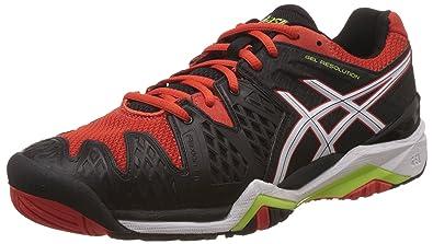huge selection of 02ec5 d6fec ASICS Men s Gel-Resolution 6 Black, White and Orange Tennis Shoes - 12 UK