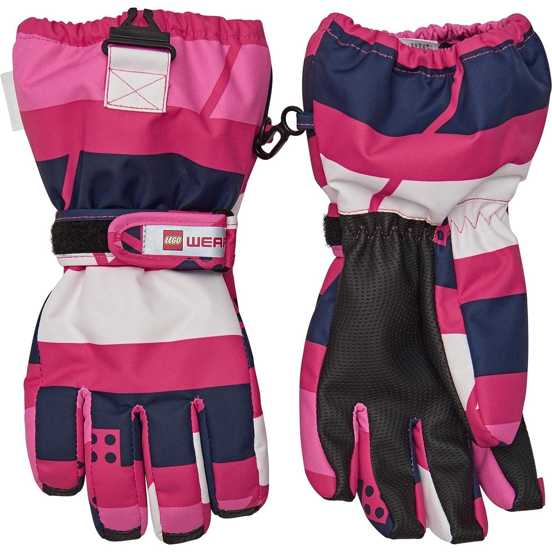 Lego Wear Handschuhe Tec Mädchen Aiden 704, Mehrfarbig (Dark Pink 490), 5 (Herstellergröße: 122/128) 20516