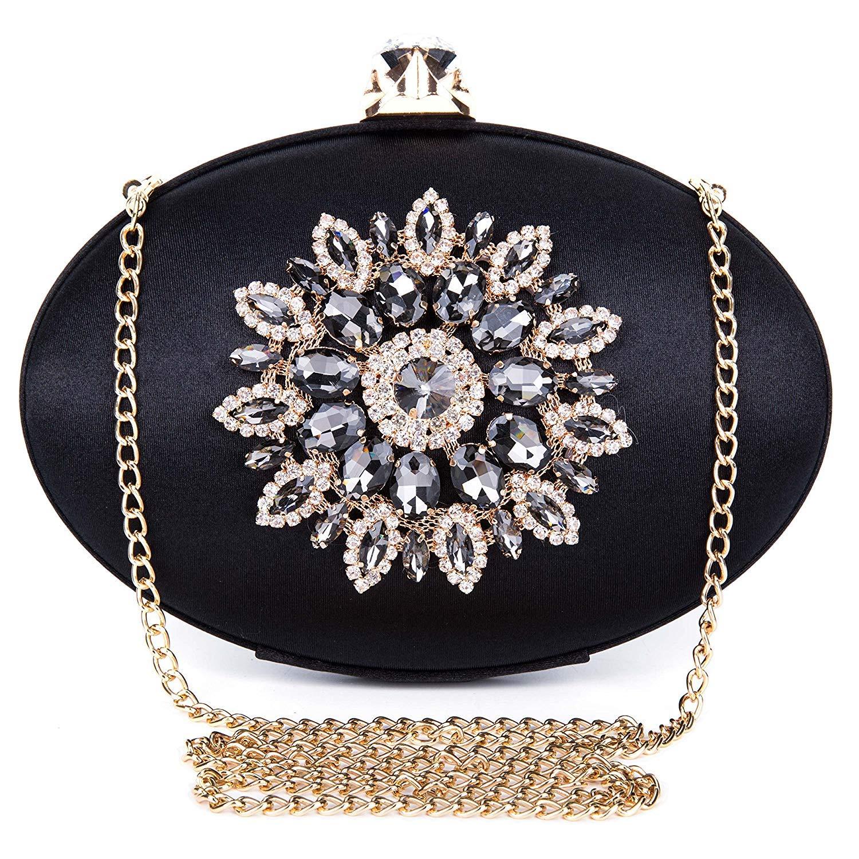 Abend Clutch Floral Diamante Oval Formal Dressing Handtasche für Hochzeit Party Prom