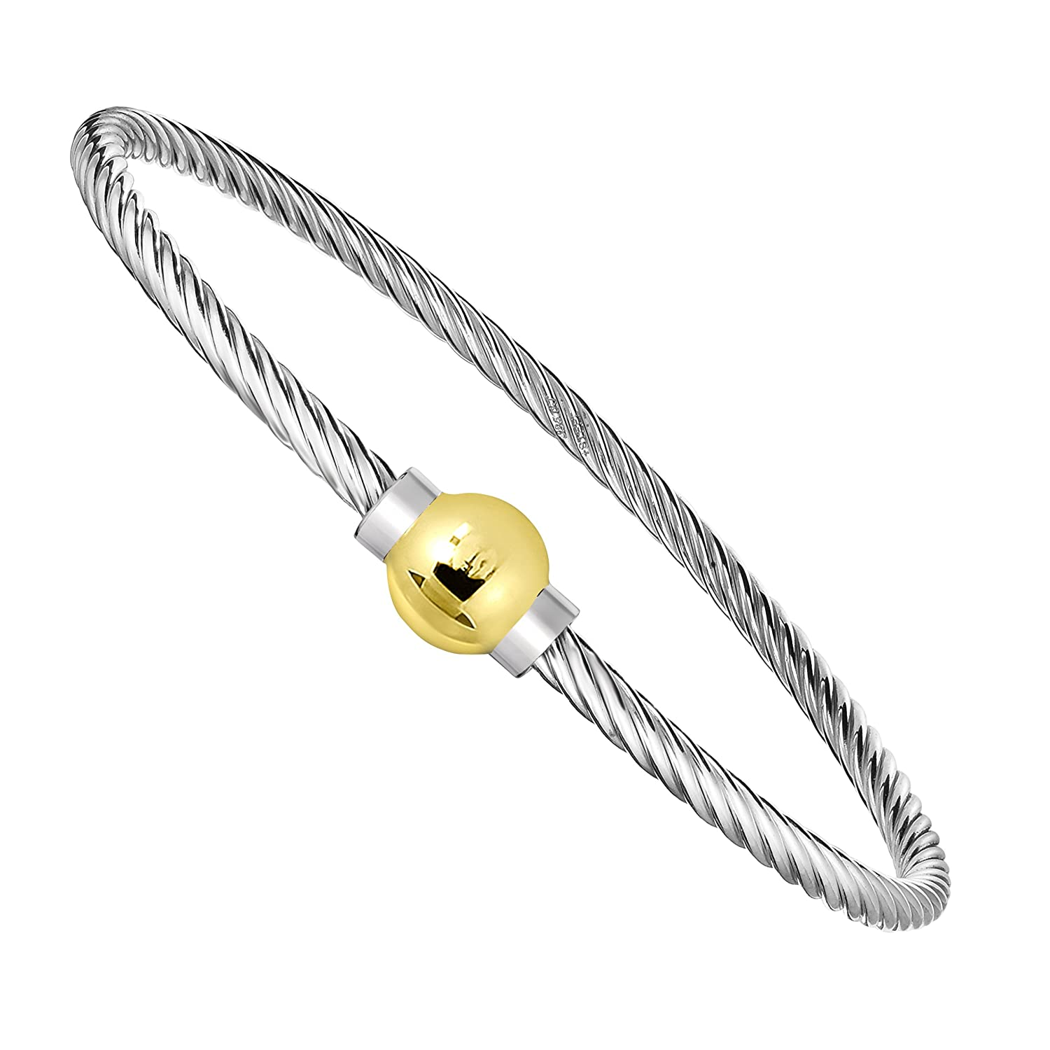 8720b2f21e5 Amazon.com  Unique Royal Jewelry Ocean Side Bracelet 925 Sterling Silver  and 14K Solid Gold Ball Screw Twisted Bangle Bracelet. (5.5)  Jewelry