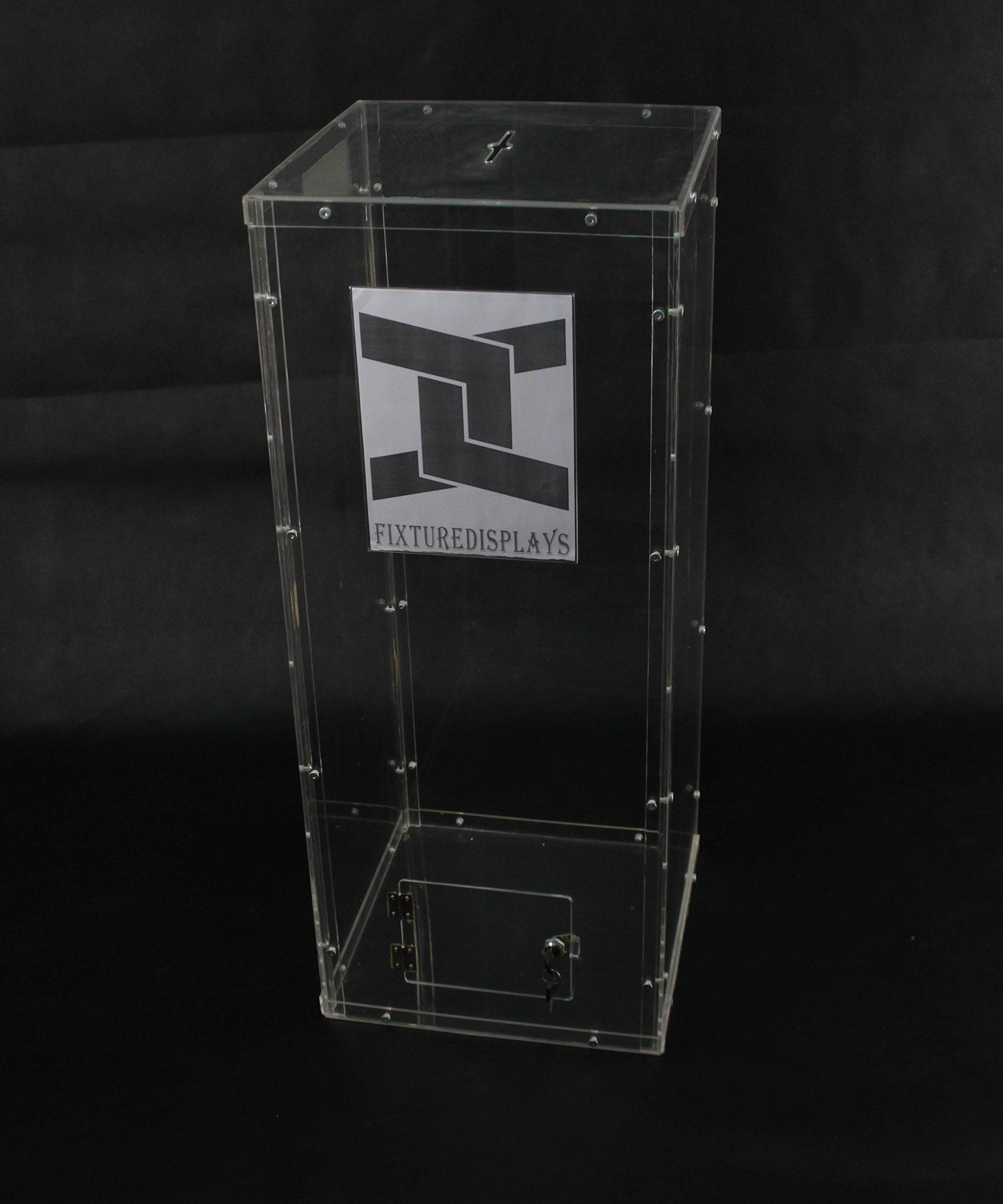 Fixture Displays Clear Plexiglass Acrylic Lucite Donation Box,Fund Raising Stand Display with Sign Holder 13192+12065