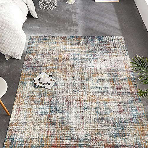 jinchan Modern Abstract Colorful Indoor Low Pile Area Rug Floorcover Mat for Living Room Kitchen Red 4 x 6 7