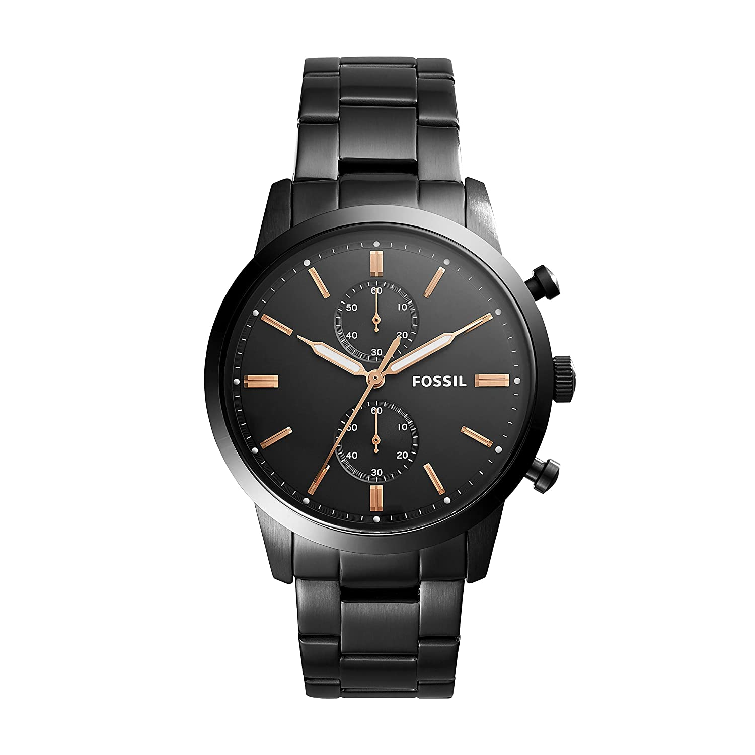 Amazon.com: Fossil Townsman 44mm Chronograph Black Stainless Steel Watch FS5379: Watches