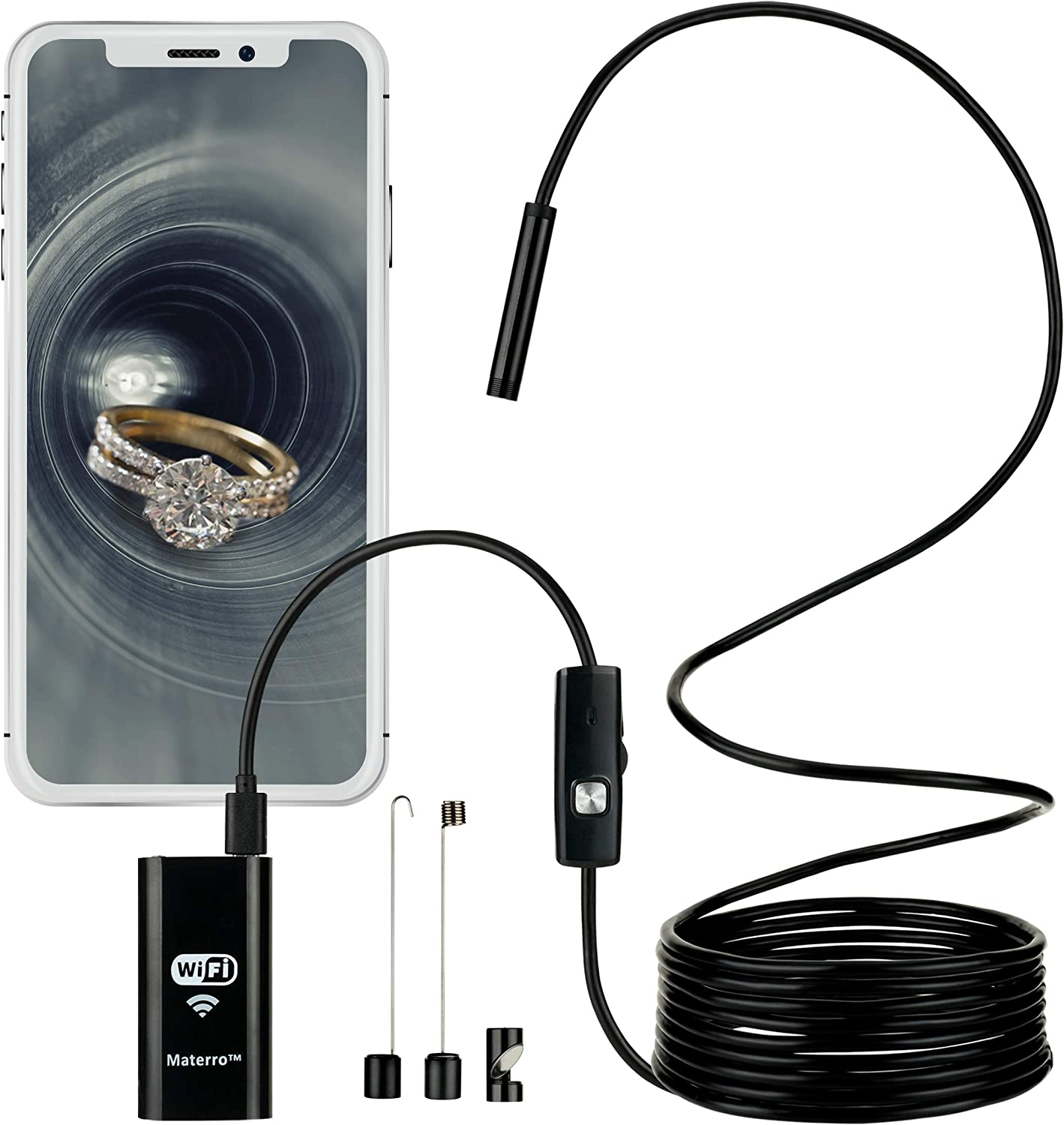 Smartphone Endoscope/Camera on a Wire, WiFi, 2.0 MP Resolution, Micro USB Borescope Waterproof for Android (2.3 or Later) and iPhone (6.0 or Later)