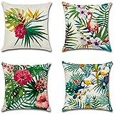 HuifengS lino copriletto cuscino copre piazza federa Tropical Rain Forest pianta la botanica decorativo per divani sedie cuscino set di 4letti, 45,7x 45,7cm