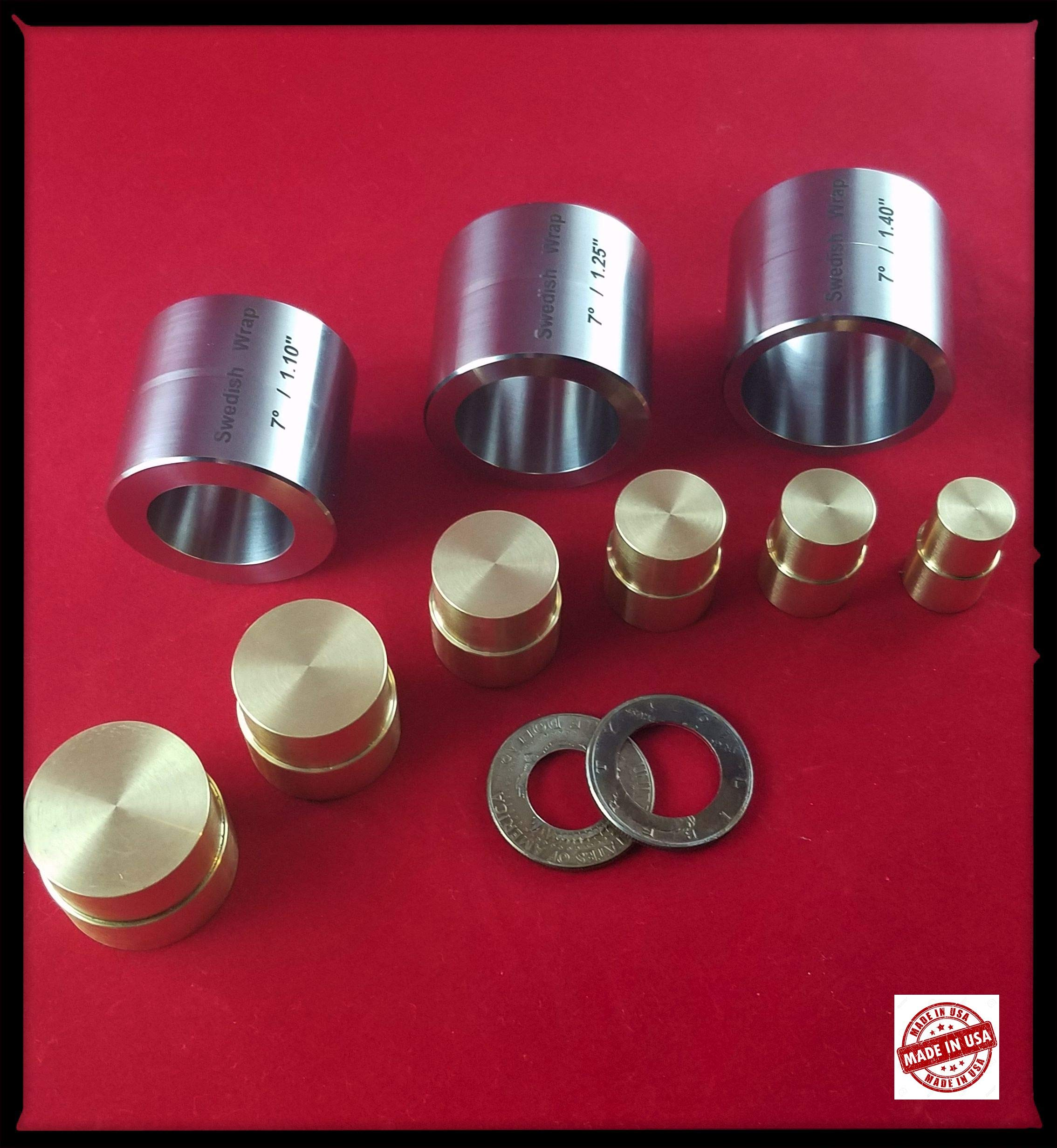 Swedish Wrap Die Set (3 pcs.) with Brass Plungers (6 Push Rods)