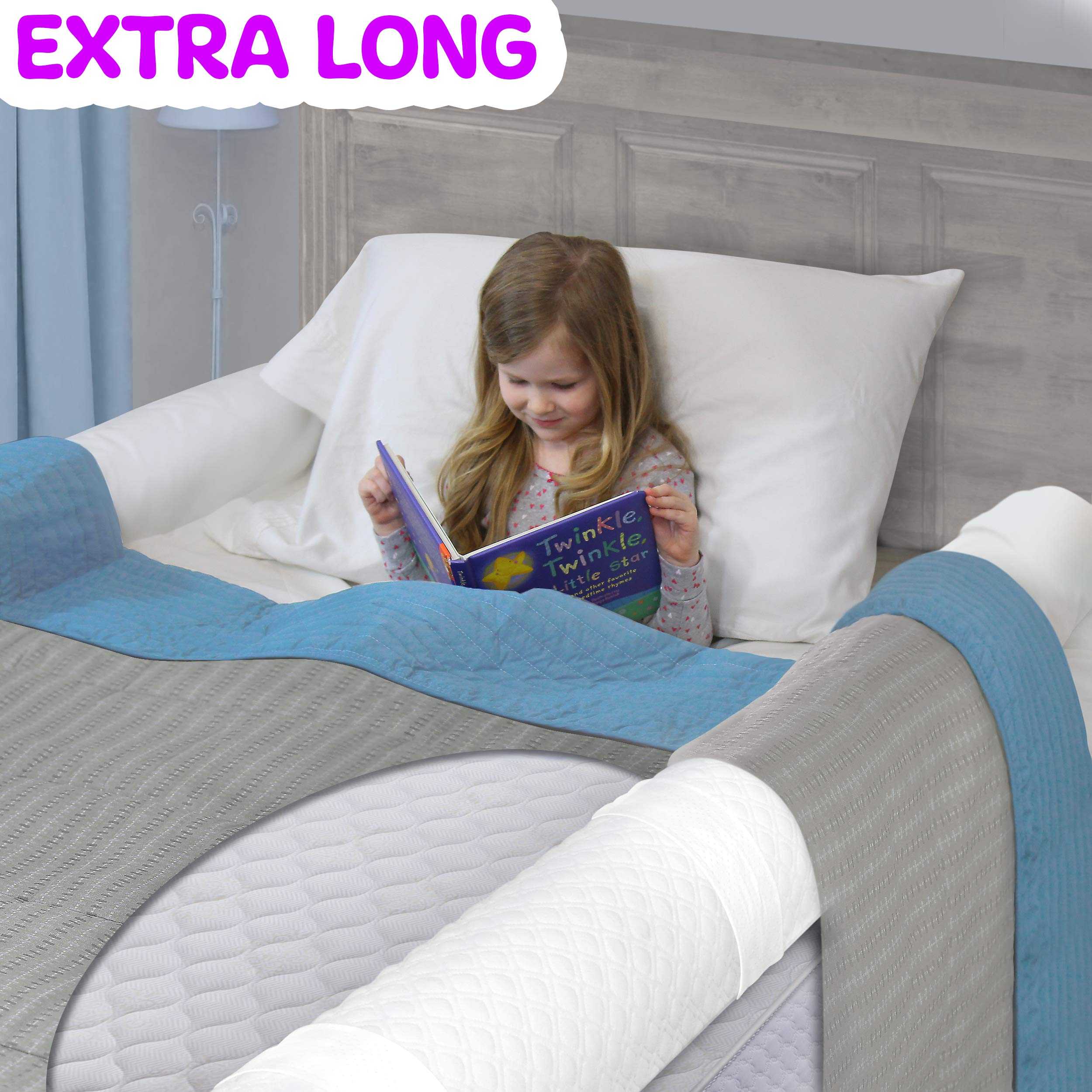 [2-Pack] Extra Long Bed Rails for Toddler | Soft Foam Bed Bumper for Kids, Special Needs, Elderly | Baby Bed Guard | Child Bed Safety Side Rails With Water Resistant Washable Cover