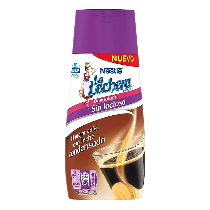 Nestlé La Lechera Leche Condensada desnatada sin Lactosa - Botella anti goteo - 450 gr
