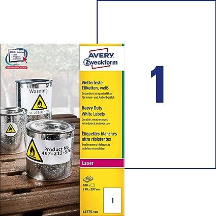 Avery España L4775-100- Etiquetas blancas resistentes al agua, imprimibles-210x297mm, caja de 100 etiquetas: Amazon.es: Oficina y papelería