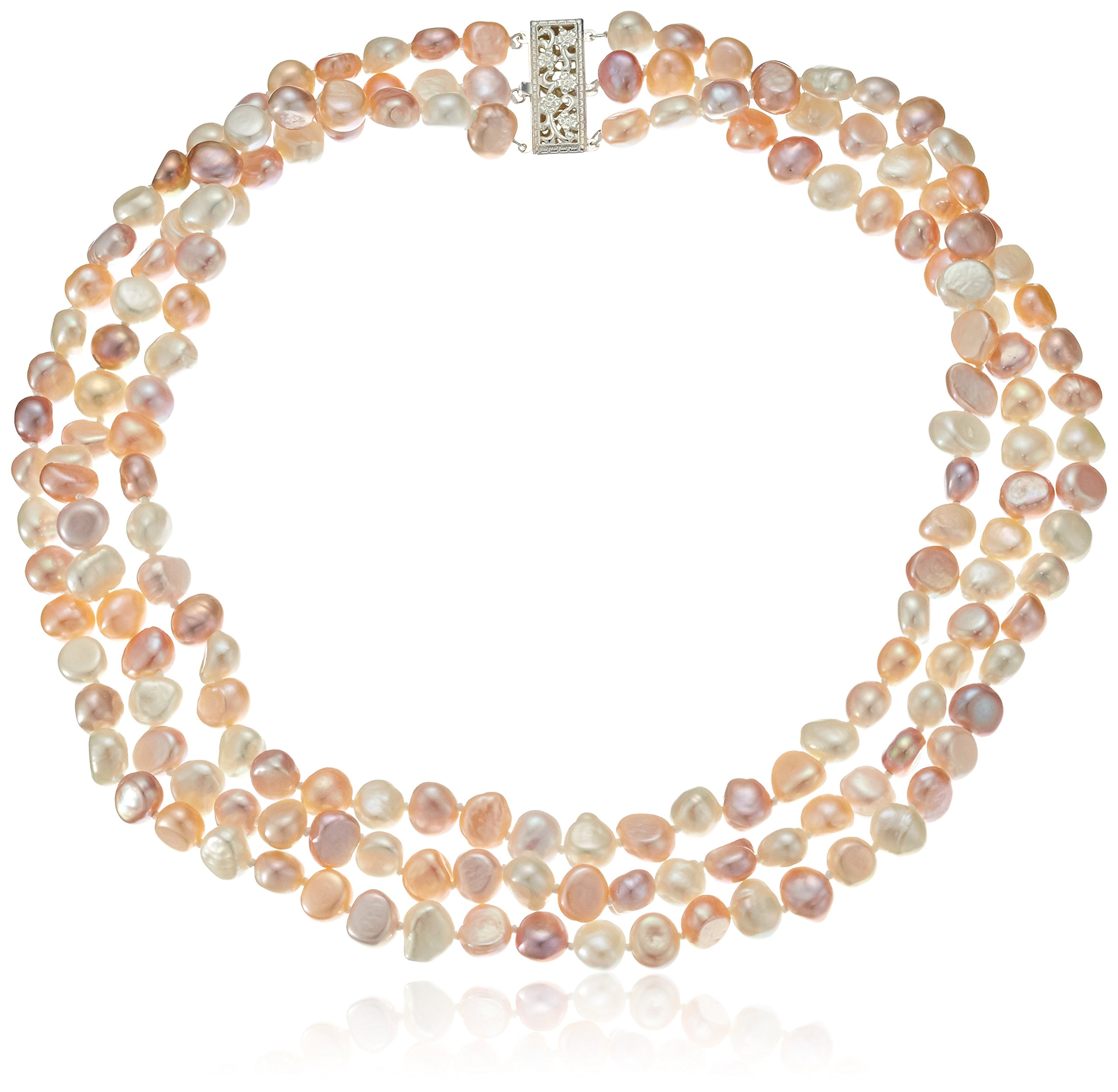 Sterling Silver Three Row 7.5-8mm Multicolor Pink and White Baroque Cultured Freshwater Pearl Strand Necklace, 18''