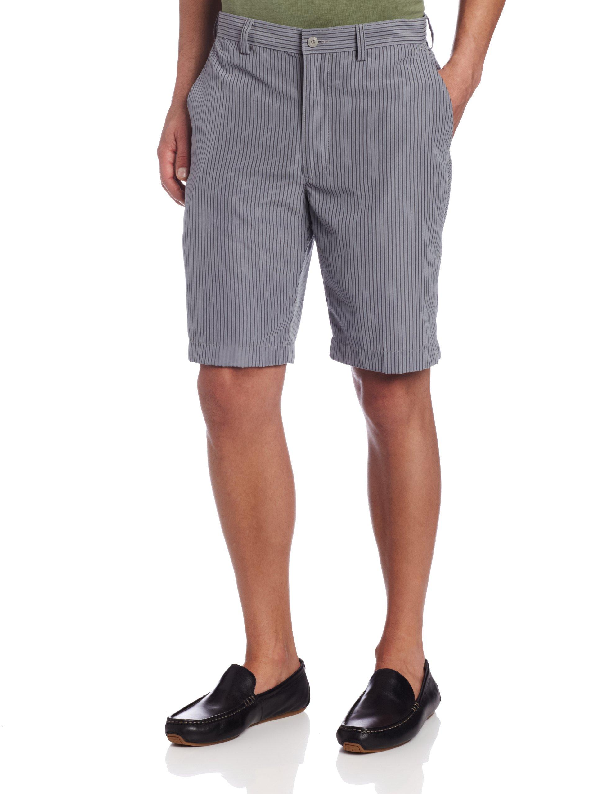 John Henry Men's Stripe Flat Front Short, Frost Gray, 38