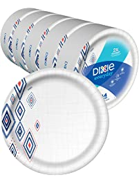 """Dixie Everyday Paper Plates,10 1/16"""" Plate, 220 Count, Amazon Exclusive Design, 5 Packs of 44 Plates, Dinner Size Printed..."""