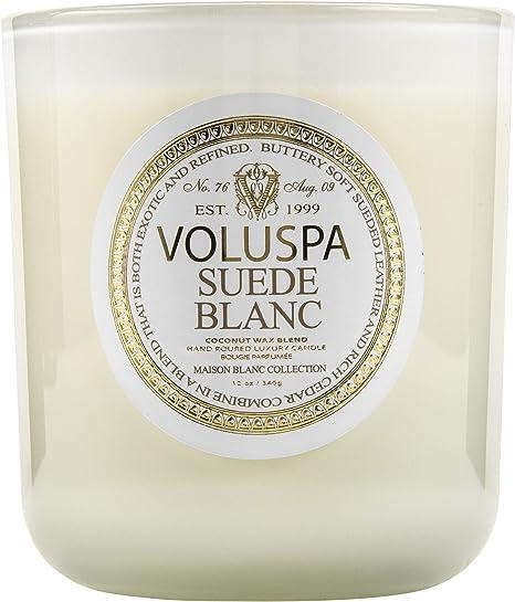 Amazon Com Voluspa Suede Blanc Classic Maison Candle 100 Hour 12 Oz Home Kitchen