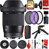 Sigma 16mm f/1.4 DC DN Contemporary Lens Sony E-Mount Bundle with 64GB Memory Card, IR Remote, 3 Piece Filter Kit, Wrist Stra