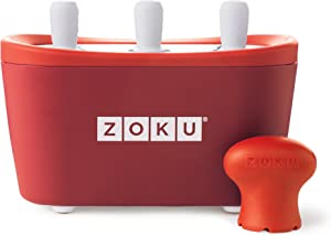Zoku Quick Pop Maker, Make Popsicles in as Little as 7 Minutes on your Countertop, Red