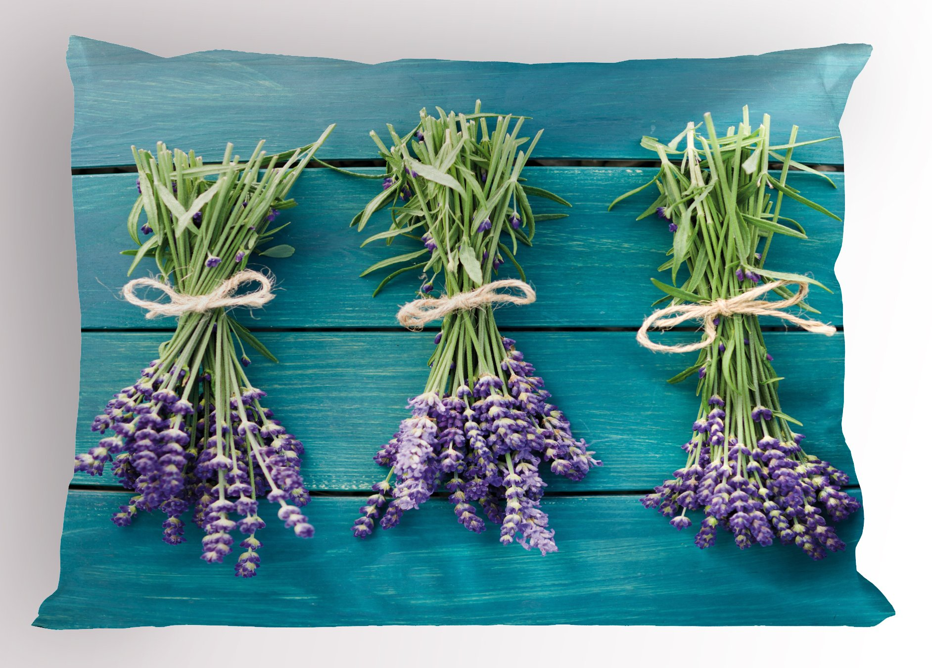 Lunarable Lavender Pillow Sham, Fresh Lavender Bouquets on Blue Wooden Planks Rustic Relaxing Spa, Decorative Standard Size Printed Pillowcase, 26 X 20 inches, Sky Blue Lavender Green