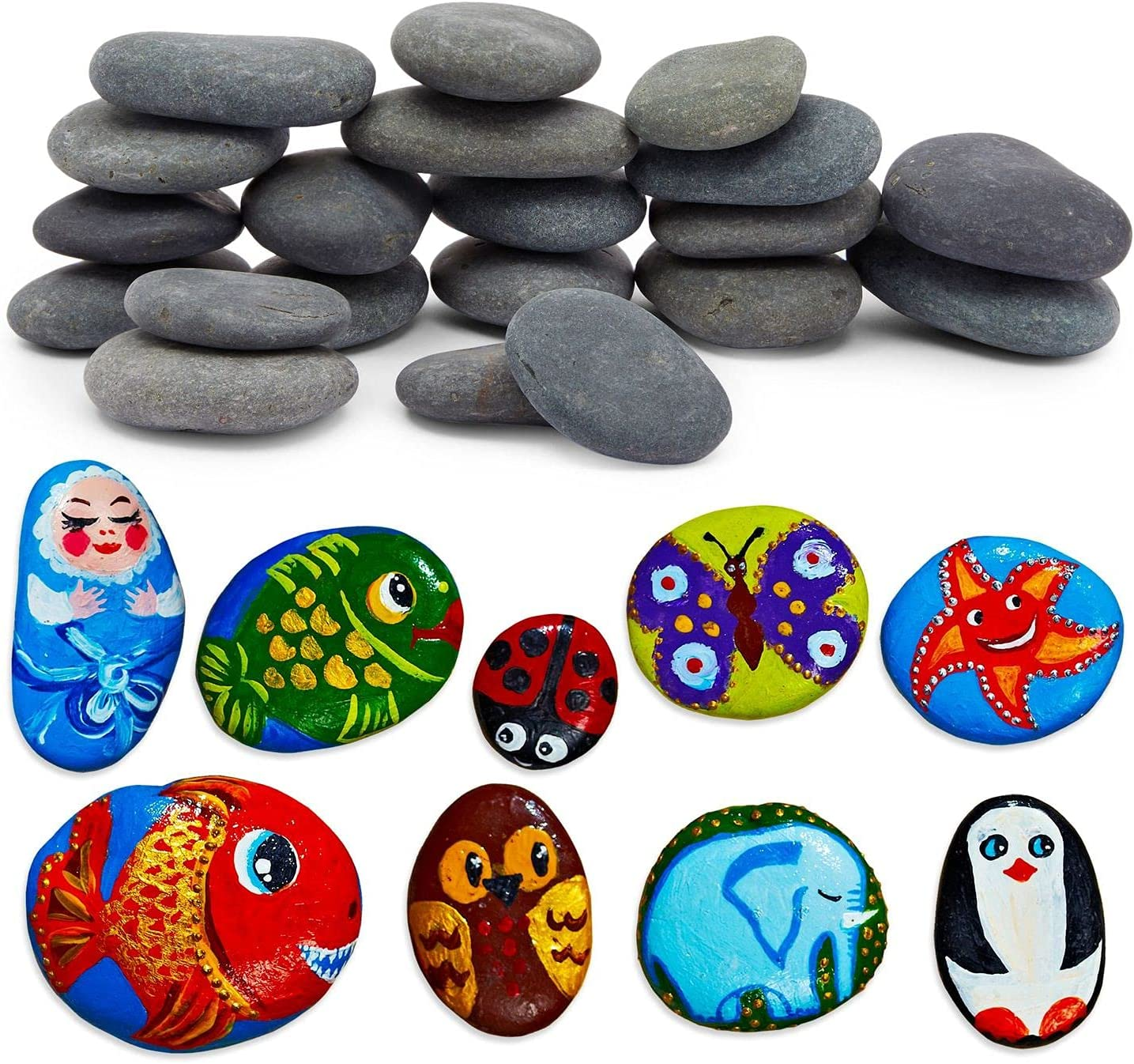 Bright Creations Painting Rocks for Kids Arts and Crafts, DIY Kindness Stones (2-3 in, 20 Pack)