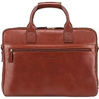 Banuce Men's Briefcase Italian Full Grain Leather 14 inch Laptop Bag Business Tote Shoulder Bag Messenger Bag Brown