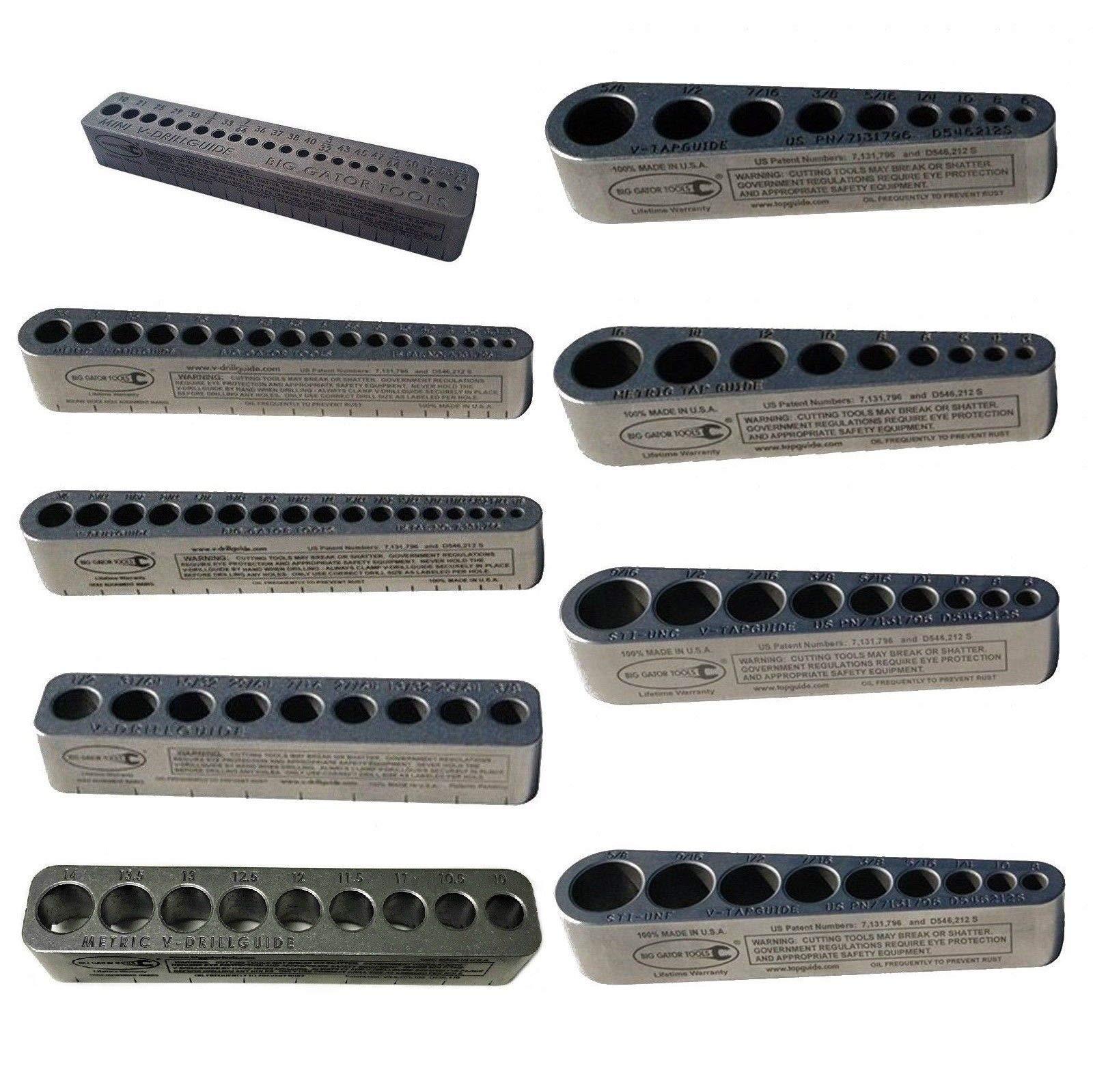 Big Gator Tools BGT V-9Pro V-DrillGuide/V-TapGuide Portable Hand Tool 9PC Set SAE/Metric/Coarse/Fine