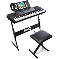 RockJam 61-Key Electronic Keyboard Piano SuperKit with Stand, Stool, Headphones & Power Supply