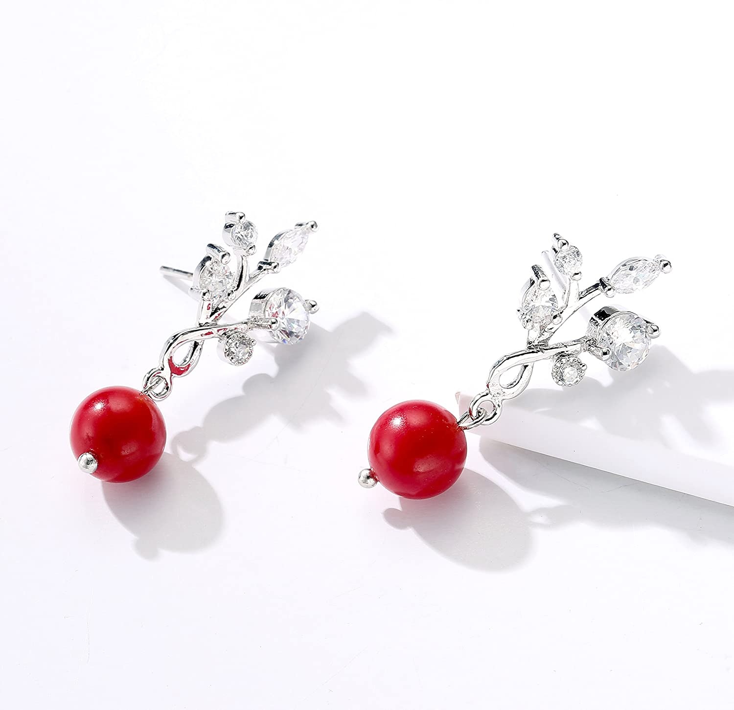 CZ Leaves Stud Earrings with Coral Bead Drop