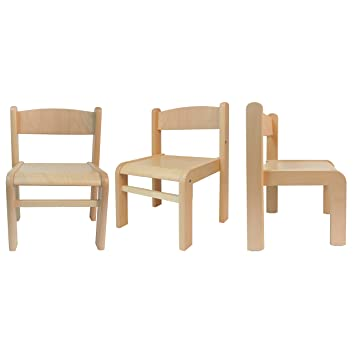 Obique Childrenu0027s Furniture Solid Beech Wood Set Of 3, Three Chairs Without  Arm Rest Natural