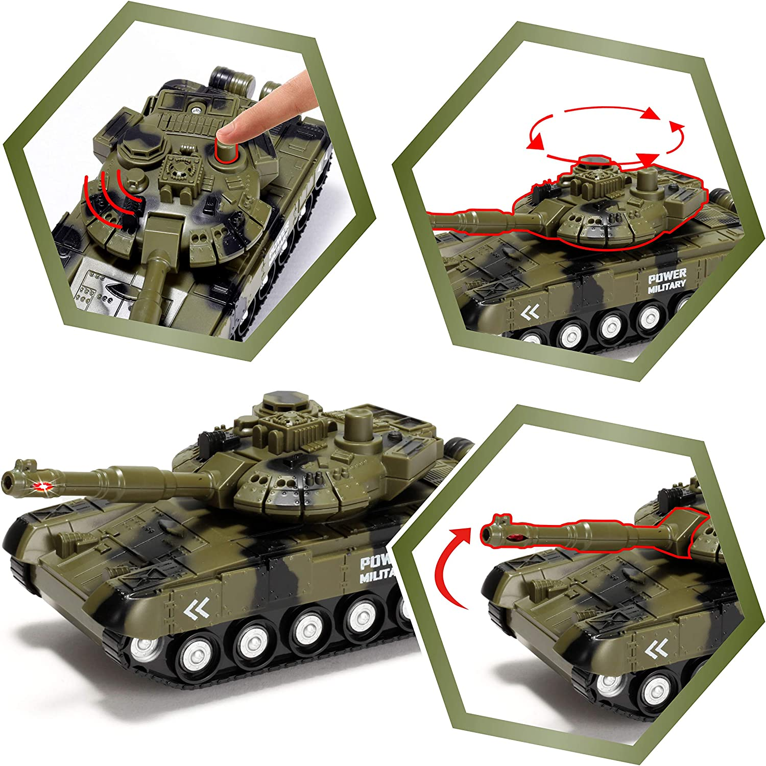 Including Military Truck Military Vehicles with Light and Sound Siren for Imaginative Play Helicopter and Tank Toy JOYIN 3 in 1 Friction Powered Siren Military Vehicle Toy with Action Figures