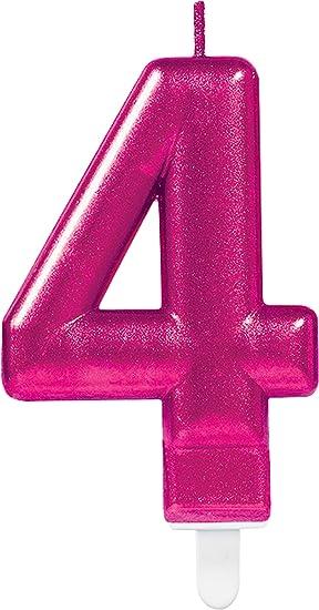 CARPETA® Número Vela * Número 4 * en rosa con ranuras ...