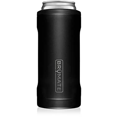BrüMate Hopsulator Slim Double-walled Stainless Steel Insulated Can Cooler for 12 Oz Slim Cans (Matte Black)