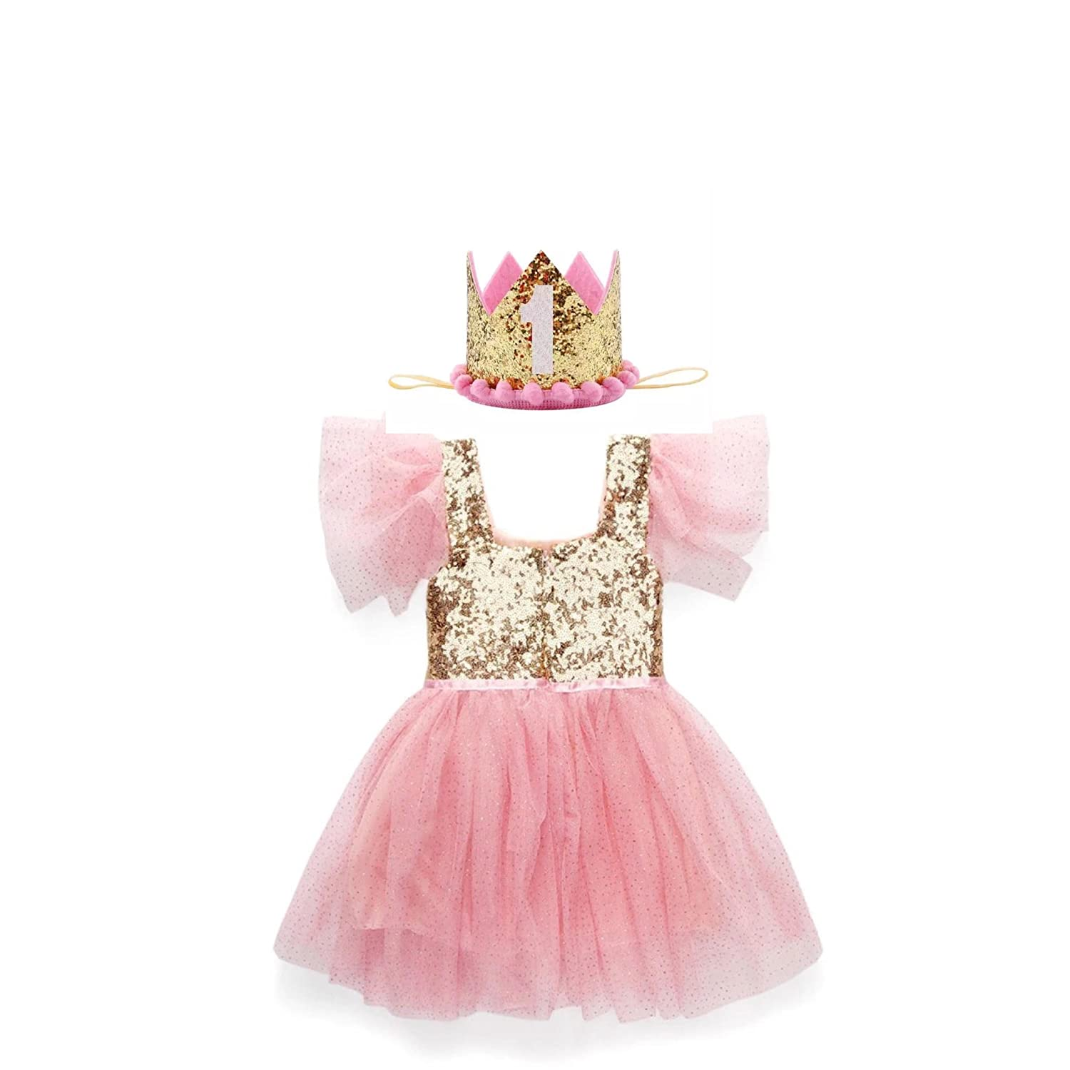 d554de43 Amazon.com: Envie Bebe Pink and Gold Sequin Party Dress With Gold Sequin First  Birthday Crown: Clothing