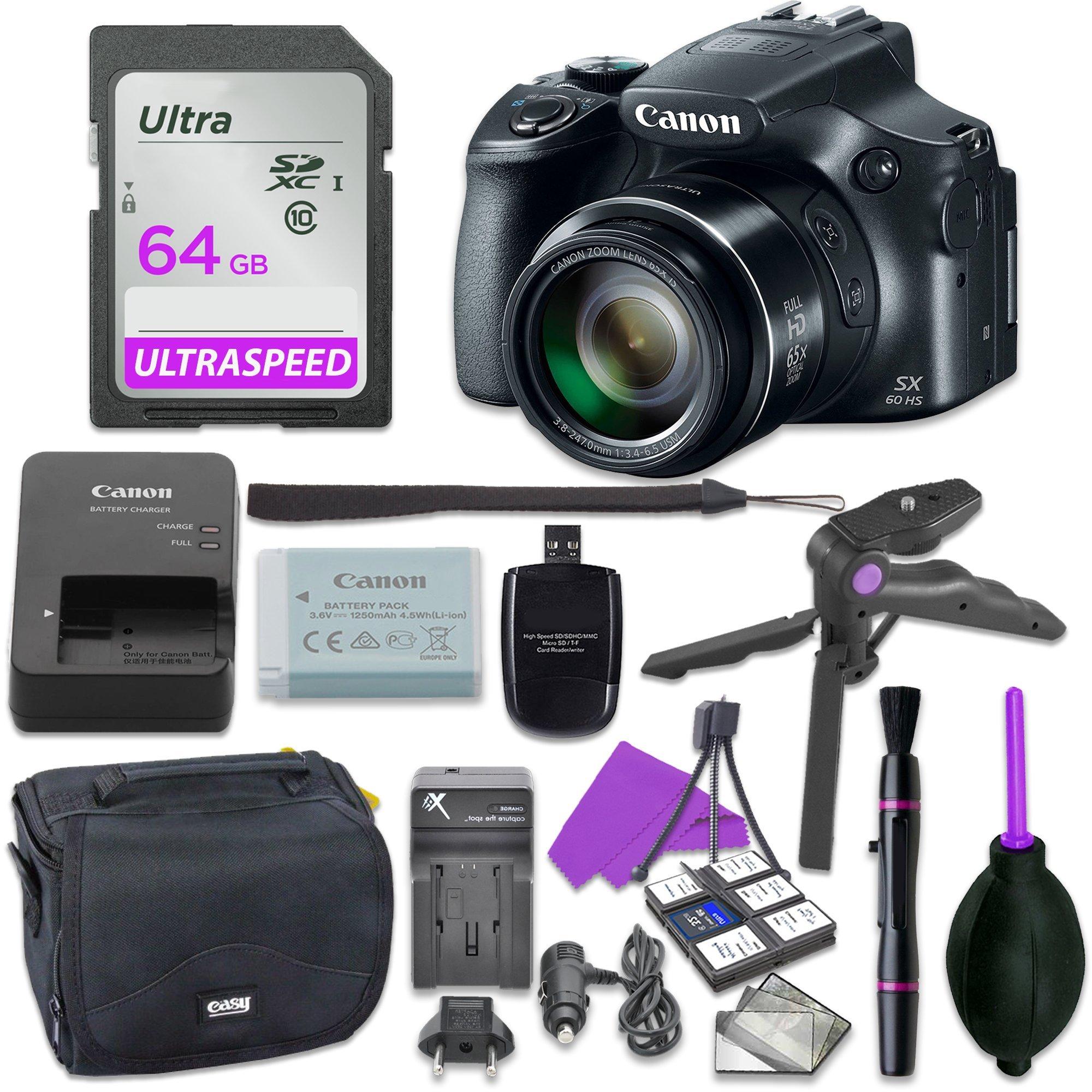 Canon Powershot SX60 Point & Shoot Digital Camera Bundle w/ Tripod Hand Grip , 64GB SD Memory , Case and More